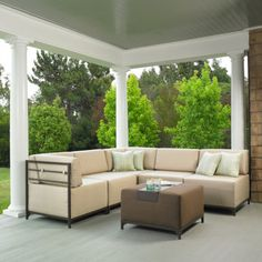 The Malibu 6-piece Modular Deep Seating Sectional will bring indoor styling to your outdoor living space with its unique oversize slip covered seat cushions and comfortable angled back cushions. Included in this set are 5 modular pieces (3 armless chairs and 2 corner chairs) and an ottoman with aluminum tray. $1,500