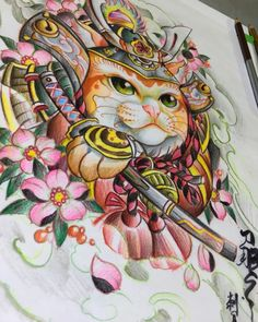 No photo description available. Rare Tattoos, Asian Tattoos, Body Art Tattoos, Japon Illustration, Japanese Illustration, Gato Angel, Lucky Cat Tattoo, Howling Wolf Tattoo, Japan Tattoo Design