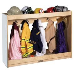 Birch hardwood rack keeps dress up clothes on hand and ready for action on a moment's notice. Features 10 hooks (five on each side), top shelf for smaller items, shoe tray in the base, and full length acrylic mirrors on both ends. Casters included for mobility.