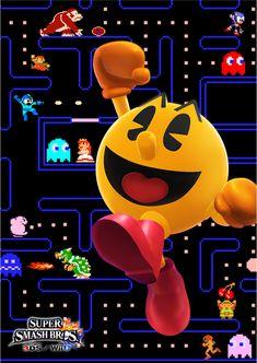 Promotional art for Pac-Man for Super Smash Bros. for Nintendo / Wii U. Super Smash Bros Brawl, Super Mario Bros, Retro Video Games, Video Game Art, Festa Do Pac Man, Nintendo Entertainment System, Retro Arcade, Retro Gamer, Battle Royale