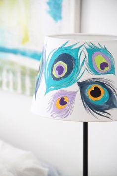 peacock inspired painted lampshade from alisa burke - love the colors.
