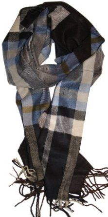 Amazon.com: SethRoberts-Plush Plaid Classic Cashmere Feel Men's Winter Scarf in Dark Brown, Light Blue, Gray: Clothing