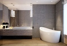 Find another beautiful images Concrete Bathroom Walls Freestanding Bath at http://showerroomremodeling.com