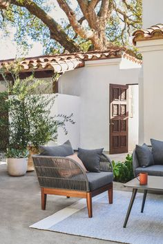 Solid wood and woven rope frame, made to melt into cushions, a Scandinavian influence — the Kotelu Lounge Chair has all the ingredients needed to be your new outdoor favorite. #OutdoorFurniture #PatioChair #PatioDesign