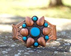 Vintage Copper and Turquoise Cuff by JacquelineLaDawn on Etsy