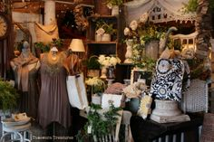 New spring window display featuring whites & neutrals