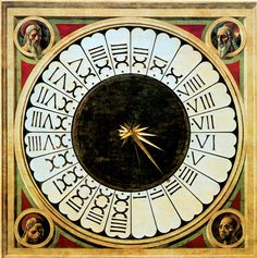Paolo Uccello - Clock Face, Santa Maria del Fiore, 1443. I like this weird arrangement, COUNTER clockwise (look closely) and all 24 hours, with one at 6 PM so that NOON is at the very top. I  want to replicate it in our home somehow.