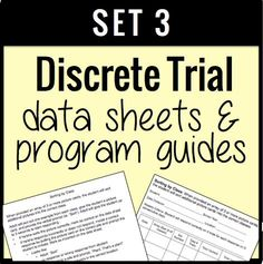 This packet contains goal sheets and data forms for a wide range of types of discrete trial data. Just print and you are completely ready to run a discrete trial skill acquisition program! by theautismhelper.com