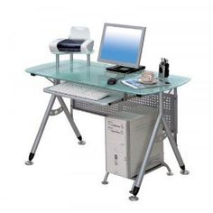 Contemporary Glass and Metal Steel Frame Computer Desk