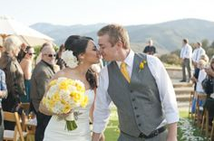 Yellow and Grey - Carmel Valley CA Rustic Wedding