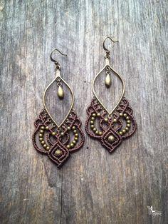 Grandes Boucles d'oreilles gypsy bijoux micro macramé bohème par Créations Mariposa