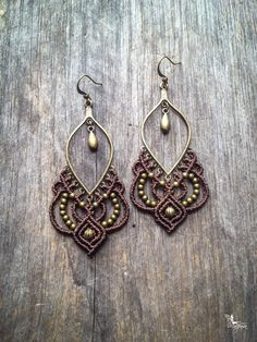 Big Micro macrame earrings gypsy bohemian por creationsmariposa