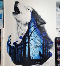 Wolf painting with a scene of the woods and a wolf howling withing the painting of the wolf itself. 21-year-old Finland Artist Jonna 'Scandy Girl' (Jonna Lamminaho) has created breathtaking fine art pieces that remind us to preserve nature. Please also visit www.JustForYouPropheticArt.com for more colorful art you might like to pin. Thanks for looking!