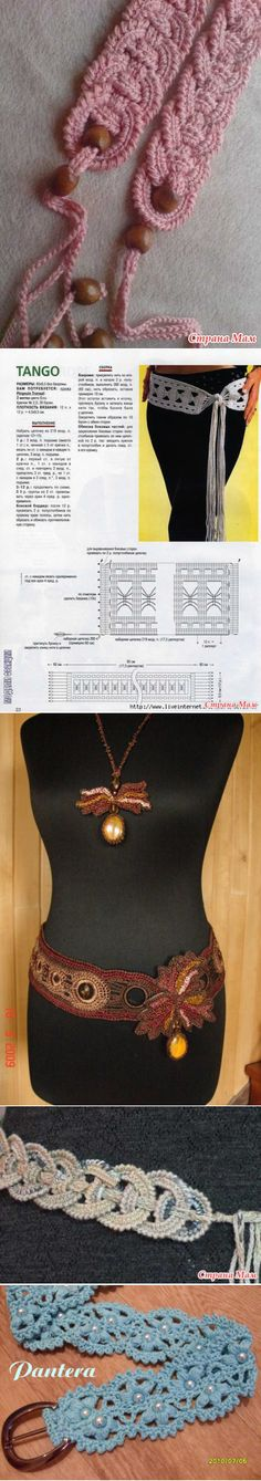 Belts knitted a hook - Knitting - the Country of Mothers Crochet Belt, Love Crochet, Beautiful Crochet, Crochet Yarn, Crochet Stitches Patterns, Crochet Designs, Crochet Woman, Bandeau, Crochet Accessories