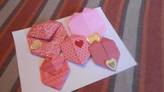 Valentine double hearts/origami heart envelopes/paper hearts by jmb paper designs, $8.00 USD