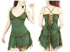Sexy khaki green dress with corset at back and by BaliWoodShop