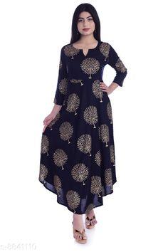 Kurtis & Kurtas Women's Printed Rayon Long Anarkali Kurti Fabric: Rayon Sleeve Length: Three-Quarter Sleeves Pattern: Printed Combo of: Single Sizes: XL 4XL L M XXXL Country of Origin: India Sizes Available: S, M, L, XL, XXL, XXXL, 4XL   Catalog Rating: ★4.2 (457)  Catalog Name: Myra Drishya Kurtis CatalogID_1515069 C74-SC1001 Code: 884-8841110-0002