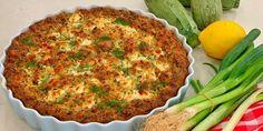 Λαχταριστή κολοκυθόπιτα χωρίς φύλλο (μπατζίνα) - Images Zucchini Pie, Lemon Olive Oil, Good Pie, Summer Recipes, Quiche, Stuffed Peppers, Snacks, Meals, Baking