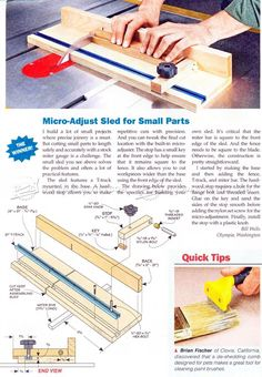 Micro Adjust Sled for Small Parts - Table Saw Tips, Jigs and Fixtures…