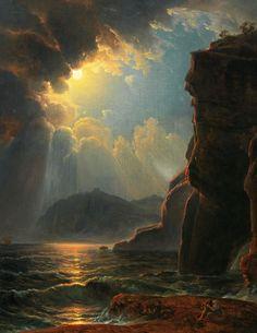 """ 🎨Rocky coast in the moonlight Johann Nepomuk Schödlberger Austrian Austrian painter. 🌍 Beauty in Art 🎨"" Fantasy Landscape, Landscape Art, Landscape Paintings, Landscapes, Aesthetic Painting, Aesthetic Art, Moonlight Painting, Classical Art, Renaissance Art"