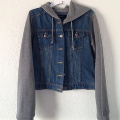 Jean jacket Jean jacket with gray sleeves and hoodie worn only once. Forever 21 Jackets & Coats Jean Jackets