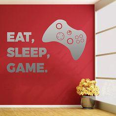 XBOX EAT SLEEP GAME vinyl wall sticker art decal childrens den bedroom gaming