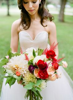 Red + White Bouquets Perfect For Canada Day - Style Me Pretty
