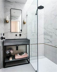 Small Marble Bathrooms Marble Bathroom Renovations Carrara Marble Bathroom Black Tapware With Marble Bathroom Tiles Small Bathroom Ideas Wet Room Walk In Shower Bathrooms Remodel, Bathroom Interior Design, Bathroom Renovations, House Interior, House Bathroom, Interior, Black Bathroom, Marble Bathroom, Bathroom Decor