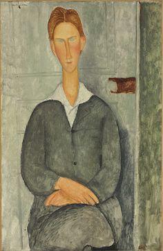 LOT 5 AMEDEO MODIGLIANI (1884-1920) Jeune homme roux assis Lot Description signed 'modigliani' (upper left) oil on canvas 39 1/2 x 25 5/8 in. (100.5 x 65 cm.) Painted in 1919 Estimate $8,000,000-12,000,000