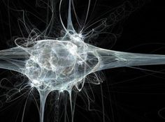 La fractale neurone blanc sur un fond noir  Banque d'images