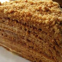 marlenka_recept_kepple Russian Honey Cake, Russian Cakes, Layer Cake Recipes, Cookie Recipes, Medovik Recipe, Milk Cake, Chocolate Chip Cookies, Vanilla Cake, Sweet Recipes