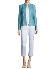 Denise+Lambskin+Leather+Zip-Front+Jacket,+Basic+Scoop-Neck+Cotton+Tank+&+Bleecker+Cropped+Pants+by+Lafayette+148+New+York+at+Neiman+Marcus.