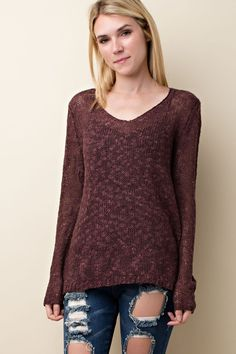If you are looking for sexy or casual, the Wine Marled Knit Sweater is what you've been looking for! Pair this knit top with a high neck barrette for a sexy night out or pair with a cami for a casual class or work look!  Wine Marled Knit Sweater - Single Thread Boutique, $44.00  #wine #marled #knit #sweater #long #sleeve #v #neck #semi #sheer #off #shoulders #casual #sexy #womens #fashion #winter #trendy #singlethreadbtq #shopstb #boutique