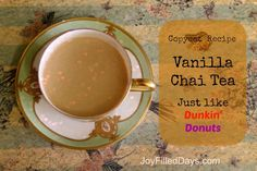 Copycat Recipe for Dunkin Donuts Vanilla Chai tea. This is identical--rich, creamy and spicy sweet! Dunkin Donuts Vanilla Chai Recipe, Chai Tea Recipe, Tea Recipes, Copycat Recipes, Coffee Recipes, Recipies, Drink Recipes, Starbucks Recipes, Starbucks Drinks