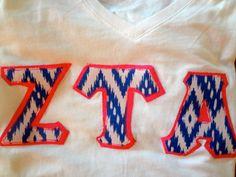 Zeta Custom Greek Letter Shirt Blue/White Tribal Pattern by PrettyyLittleLetters, $21.00 #zta