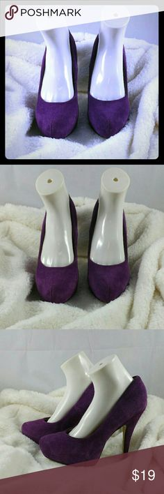 Estephanie Purple Suede Platform Heels Platform heels Size - 9 Brand - Shoedazzle Color - Purple Suede material 5 inch heels with platform There?s something undeniable about Estephanie, a platform pump that features genuine suede styling and a timeless silhouette. Shoe Dazzle Shoes Platforms