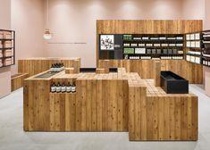 Torafu Architects uses Japanese cedar columns for fifth Aesop shop interior.