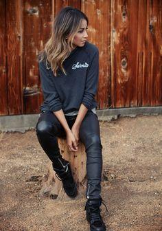 senoirita sweater. Black leather pants, black boots, black sweater....