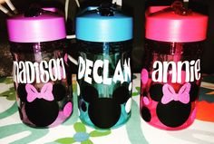 Minnie & Mickey personalized 13oz with straw water bottles 💦  https://www.etsy.com/shop/AriellesTreasures03