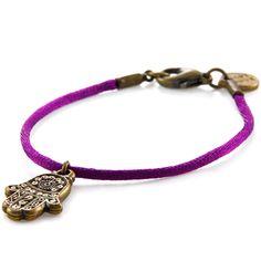 Dana Levy Hamsa Hand Charm Satin Cord Bracelet