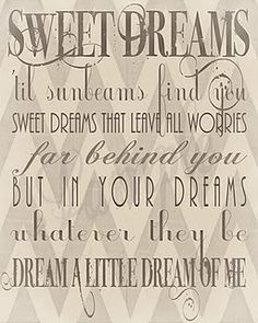 """sweet dreams...Mama Cass. This song is an """"oldie""""....but such a """"goodie""""!"""