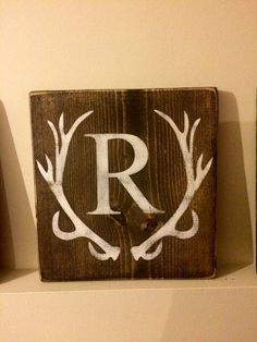 Rustic hand painted wood sign Antlers with by RusakCustomCreations