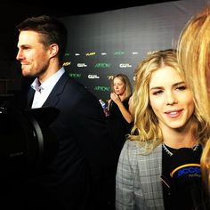 Emily Bett Rickards and Stephen Amell #FlashVsArrow screening