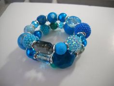 Turquoise Blue Teal and Silver BEADED Memory Wire by Beads4You2008,