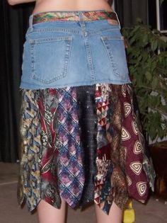 jean skirt and neckties, I'd take off the jean skirt and just use a thick denim elastic band and make a nice skirt like that! ohhhh ideas!!