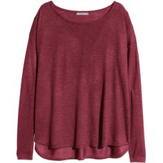 H&M Fine-knit jumper (354970 BYR) ❤ liked on Polyvore featuring tops, sweaters, shirts, long sleeves, burgundy, wide neck sweater, long sleeve tops, h&m shirts, h&m sweater y loose long sleeve shirts