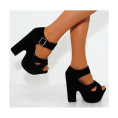 b6858d13976490 Shoe closet would like to present these black wedged strappy peep toe  platforms high heel shoes