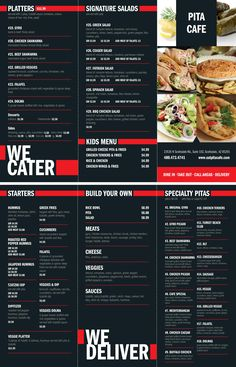 Menu design for Pita Cafe.