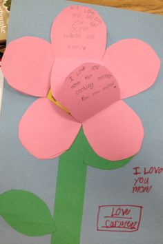 The inside of the flower pedals of the Mother's Day card.