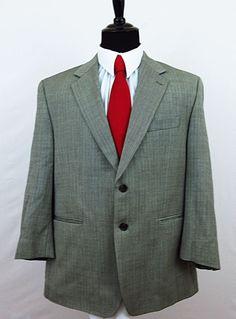 Ralph Ralph Lauren Men's Gray Herringbone 100% Wool Sport Coat Blazer Jacket 44S #RalphRalphLauren #TwoButton